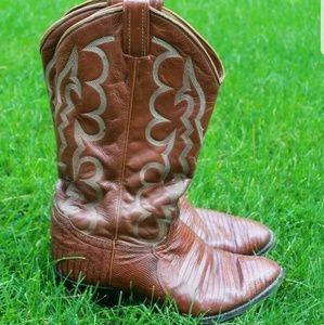 Mens 8 Tony Lama Cowboy Boots Lizard Skin